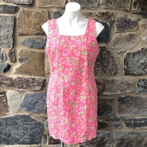Vtg Lilly Pulitzer poppy pink Palm dress size 14P